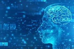 Abstrakte künstliche Intelligenz Kreativer Brain Concept, Technologienetzhintergrund lizenzfreies stockbild