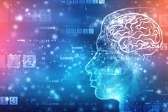 Abstrakte künstliche Intelligenz Kreativer Brain Concept, Technologienetzhintergrund stockfotografie