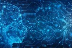 Abstrakte künstliche Intelligenz Kreativer Brain Concept, Technologienetzhintergrund lizenzfreie abbildung