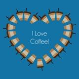 Abstrakte Kaffeetassen des Vektors, die ein Herz formen Lizenzfreie Stockfotos