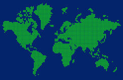 Abstrakte Karte der Welt mit grünen Punkten Lizenzfreie Stockfotos