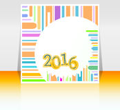 Abstrakte Karte des neuen Jahres 2016 Mehrfarbenfeiertagsgrußkarte Kreatives flaches Design, Konzept für Fahne, Plakat Stockfotos