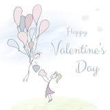 Abstrakte Karte mit Hand gezeichneten Paaren mit Ballonen, Gekritzelguß, Aquarell Rote Rose Stockfoto