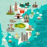 Abstrakte Karte Vietnams, Handgezogene Illustration Blau färbt Collage stockbild