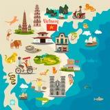 Abstrakte Karte Vietnams mit Flagge, Handgezogene Vektorillustration stockfoto