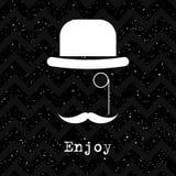 Abstrakte Kartenschablone Weißer Hut auf Schwarzem enjoy lizenzfreie abbildung