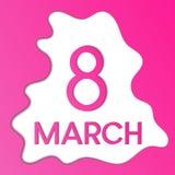 Abstrakte Klecks papercut am 8. März Urlaubspostkarte lizenzfreie abbildung