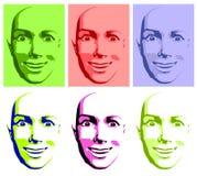 Abstrakte Knall-Kunst-glückliche Gesichts-Frau vektor abbildung