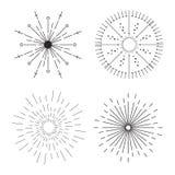 Abstrakte kreative Konzeptvektorikone von den Sonnendurchbrüchen für Netz und bewegliche Anwendungen lokalisiert auf Hintergrund  Lizenzfreies Stockfoto