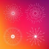 Abstrakte kreative Konzeptvektorikone von den Sonnendurchbrüchen für Netz und bewegliche Anwendungen lokalisiert auf Hintergrund  Stockfoto