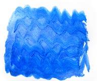 Abstrakte kreative Kunst der Wellenblaue Hand gezeichnete Acrylmalerei zurück Lizenzfreie Stockfotos