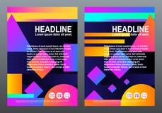 Abstrakte kreative Schablonen Abdeckungen mit geometrischem Design Helle Steigungen und Formen auf dunklem Hintergrund Modischer  Stockfotografie