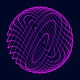 Abstrakte Kugel 3d Bereich mit Torsionslinien Gl?hende Linien, die Logoentwurf verdrehen Weltraumgegenstand Futuristische Technol stock abbildung