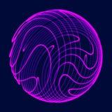 Abstrakte Kugel 3d Bereich mit Torsionslinien Gl?hende Linien, die Logoentwurf verdrehen Weltraumgegenstand Futuristische Technol lizenzfreie abbildung