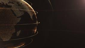 Abstrakte Kugel geerntet Verbundene goldene Punkte mit Linien Globalisierungsschnittstelle Planet geht die linke Seite weiter vektor abbildung
