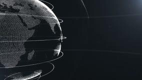 Abstrakte Kugel geerntet Verbundene weiße Punkte mit Linien Globalisierungsschnittstelle Planet geht die linke Seite weiter stock abbildung