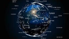 Abstrakte Kugel mit dem Plexus Erde wird in Digitaltechniken eingehüllt stock abbildung