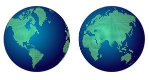 Abstrakte Kugelkarte der Welt mit grünen Punkten Stockfoto