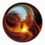 Abstrakte Landschaft innerhalb des Kreises. Stockbild