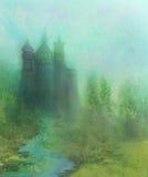 Abstrakte Landschaft mit altem Schloss Stockfoto