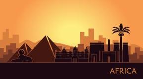 Abstrakte Landschaft mit dem Anblick von Afrika bei Sonnenuntergang stock abbildung
