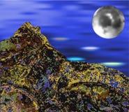Abstrakte Landschaft mit dem Mond und dem Meer Lizenzfreies Stockbild