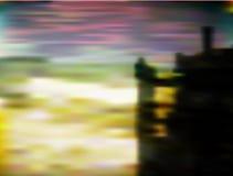 Abstrakte Landschaft mit Schloss und Sonnenuntergang Lizenzfreie Stockfotos