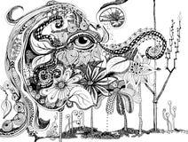 Abstrakte Linie Kunst des Elefanten Stockbilder
