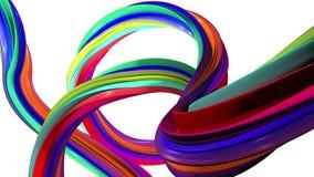 Abstrakte Linien in den Regenbogenfarben Weißer Hintergrund stock footage