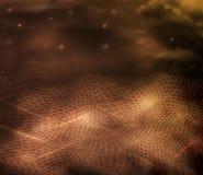 Abstrakte Linien, Wellen der Hexagonart 3D in den Goldt?nen das Konzept 3d der Landschaft, Digitaltechnik im Stil des Realismus lizenzfreie abbildung