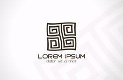 Abstraktes Logo des Labyrinths. Puzzlespiel Rebuslogik. Stockfotos