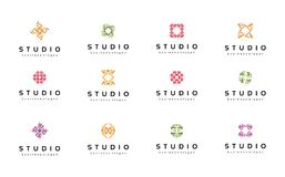 Abstrakte Logoschablonen eingestellt ansammlung Technologiesymbole Lizenzfreies Stockfoto