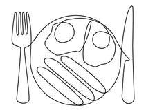 Abstrakte Mahlzeit mit einer Linie Eier Stockbilder