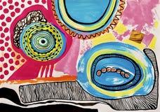 Abstrakte Malerei der zeitgenössischen Kunst, acrylsauer auf Papier lizenzfreie abbildung