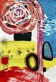 Abstrakte Malerei der zeitgenössischen Kunst, acrylsauer auf Papier stock abbildung