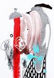 Abstrakte Malerei der zeitgenössischen Kunst, acrylsauer auf Papier vektor abbildung