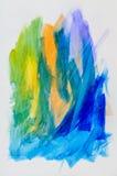 Abstrakte Malerei, farbige Tinte auf Weißbuch Stockfotos