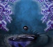Abstrakte Malerei mit Auge und Blumen Stockfoto