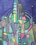 Abstrakte Malerei mit verschiedenen geometrischen Formen lizenzfreie abbildung