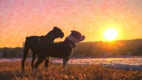 Abstrakte Malerei wo zwei Hunde bei Sonnenuntergang wir ` bezüglich des Betrachtens der Schönheit der Natur Stockbilder