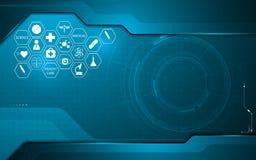 Abstrakte medizinische Gesundheitswesenikone auf Technologieinnovations-Konzeptdesign-Hintergrundschablone stock abbildung