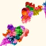 Abstrakte mehrfarbige Tinte zwei im Wasser auf einer weißen Hintergrund-Grafik vektor abbildung