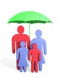 Abstrakte menschliche Familie unter Regenschirm Stockfotografie