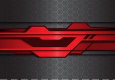 Abstrakte metallische rote schwarze futuristische Polygonlinie auf Technologie-Hintergrundvektor des Hexagonmaschenmusterdesigns  stock abbildung