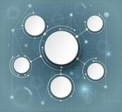 Abstrakte Moleküle und globales Social Media-Kommunikationstechnologiekonzept Stockbild
