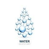 Abstrakte molekulare Zellstruktur des Wassertropfens lizenzfreie abbildung