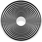 Abstrakte Monochromspirale, Turbulenz mit Radial, Kreis ausstrahlend vektor abbildung