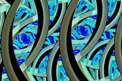 Abstrakte Mosaikverzierung in den schwarzen, blauen und grauen Farben Stockfotos