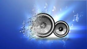Abstrakte Musik mit Sprechern auf blauem Hintergrund