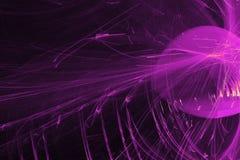 Abstrakte Muster auf dunklem Hintergrund mit purpurroten Linien kurvt Partikel lizenzfreies stockbild
